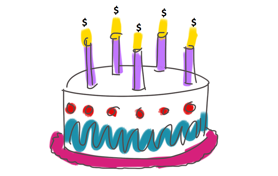 A Birthday Cake With Candles Burning Dollars